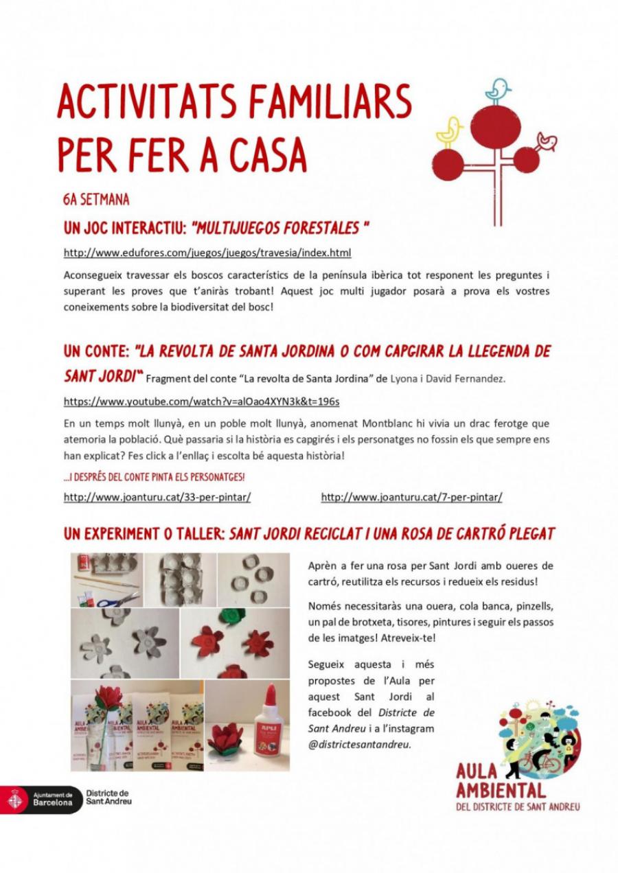 Especial Sant Jordi: Activitats familiars per fer a casa